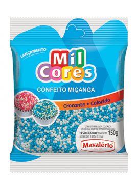 Confeito Miçanga Nº 0 Branca e Azul Mil Cores 150gr
