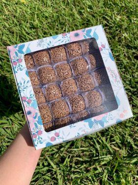 Caixa Com Visor 25 Doces Floral Turquesa pct/6un Max Paper