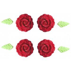 Confeito de Açúcar 452 Flor Glitter Vermelha Jady Confeitos