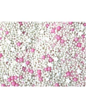Confeito de Açúcar 514 Sprinkles Rosa e Branco Jady Confeitos