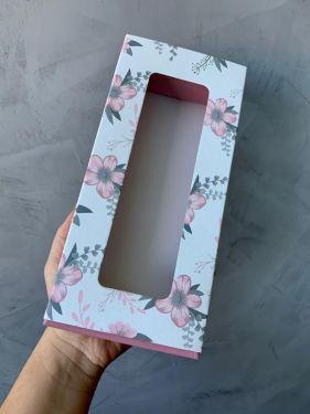 Caixa Luva 10 Doces Com Visor Floral Rosa Max Paper 6 Unidades