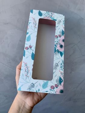 Caixa Luva 10 Doces Com Visor Floral Turquesa Max Paper 6 Unidades