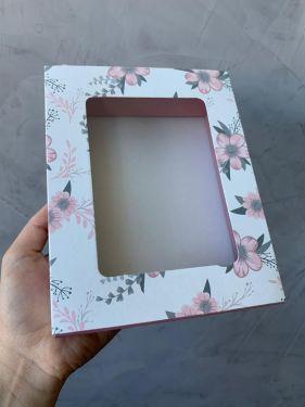 Caixa Luva 12 Doces Com Visor Floral Rosa Max Paper 6 Unidades