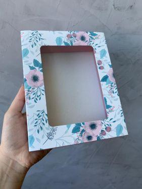 Caixa Luva 12 Doces Com Visor Floral Turquesa Max Paper 6 Unidades