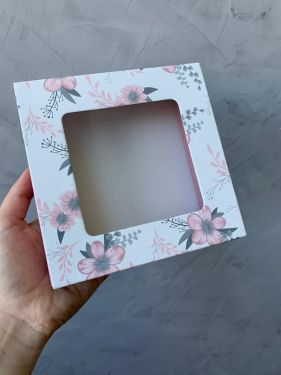Caixa Luva 9 Doces Com Visor Floral Rosa Max Paper 6 unidades