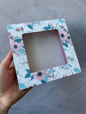 Caixa Luva 9 Doces Com Visor Floral Turquesa Max Paper 6 Unidades